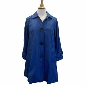 Dennis Basso Trench Coat Jacket Blue w/ Leopard XS